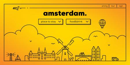 masthead: Amsterdam Modern Web Banner Design with Vector Linear Skyline