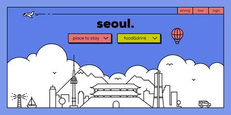 Seoul Modern Web Banner Design with Vector Linear Skyline Illustration