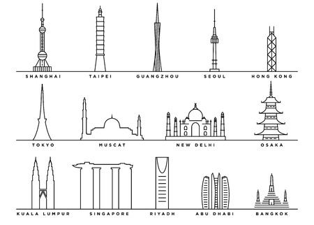 Famous Landmarks of Asia with Flat Line Style