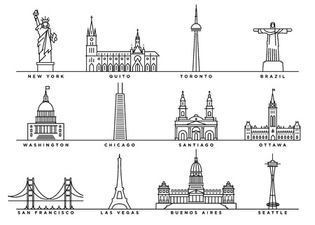 Famous Landmarks of America with Flat Line Style