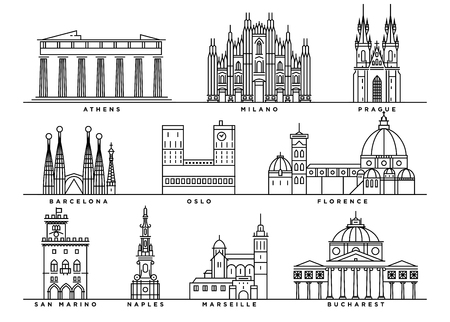 Famous Landmarks of Europe with Flat Line Style