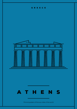 athens: Minimal Athens City Poster Design Illustration