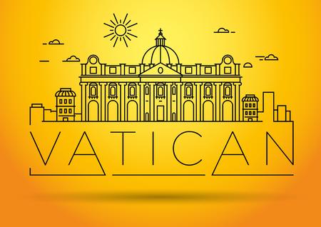 Minimal Vatican City Linear Skyline with Typographic Design Illustration
