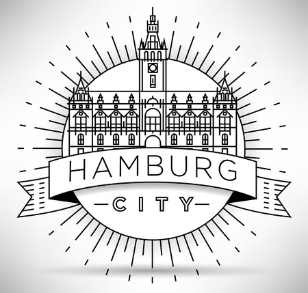 Minimal Hamburg City Linear Skyline with Typographic Design Illustration