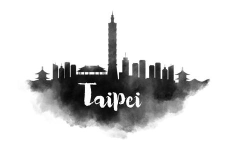 Watercolor Taipei City Skyline