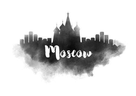 moscow city: Watercolor Moscow City Skyline Stock Photo