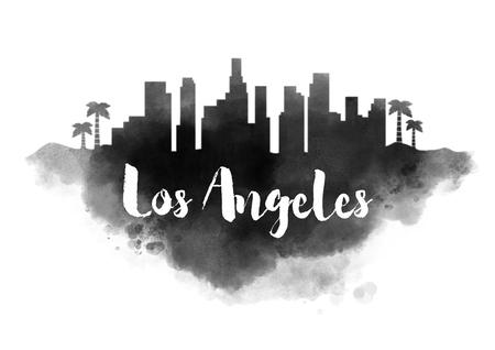 Watercolor Los Angeles City Skyline