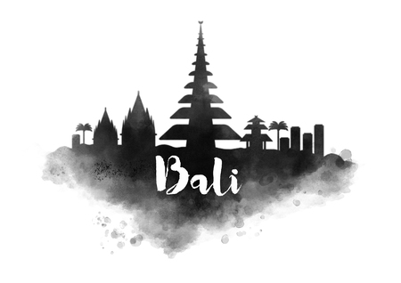 Watercolor Bali City Skyline Stock fotó - 64821457