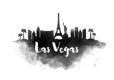 Watercolor Las Vegas City Skyline