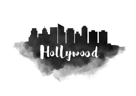 la: Watercolor Hollywood City Skyline