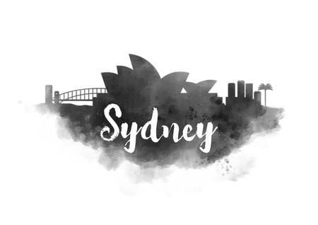 sydney skyline: Watercolor Sydney City Skyline