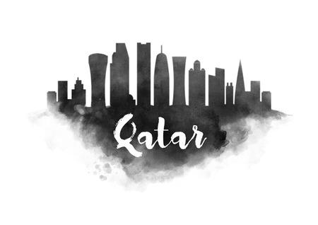 Watercolor Qatar City Skyline