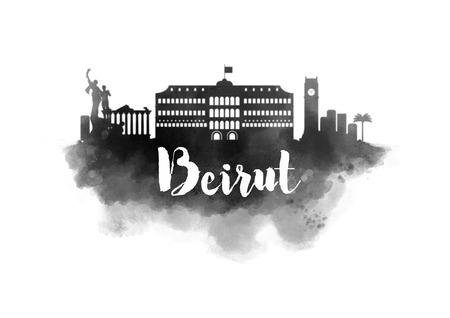 beirut: Watercolor Beirut City Skyline Stock Photo