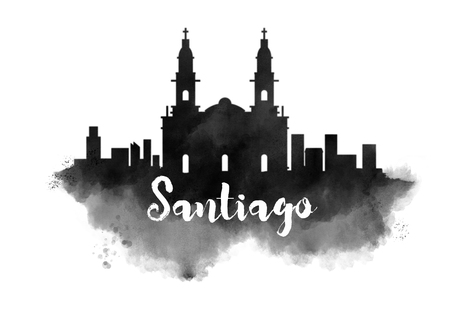 Watercolor Santiago City Skyline