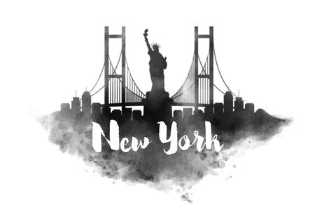 new york city skyline: Watercolor New York City Skyline Stock Photo