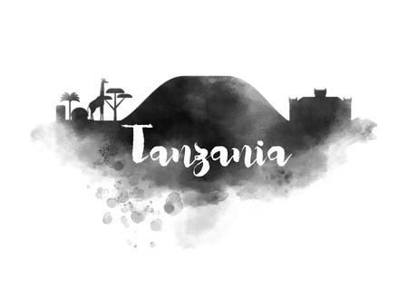 tanzania: Watercolor Tanzania City Skyline