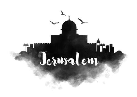 Watercolor Skyline Stad van Jeruzalem Stockfoto
