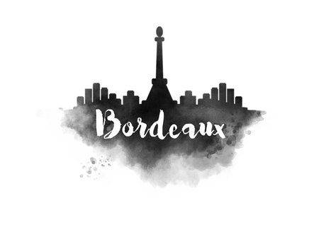 bordeaux: Watercolor Bordeaux City Skyline Stock Photo