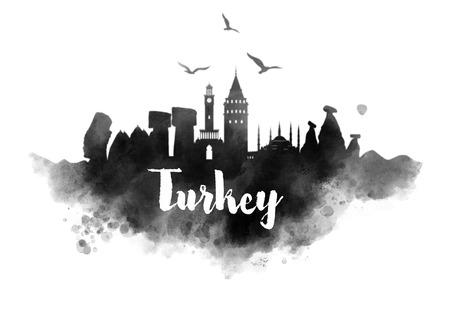 bursa: Watercolor Turkey City Skyline