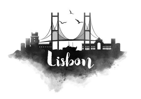 lisbon: Watercolor Lisbon City Skyline Stock Photo