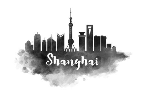 Watercolor Shanghai City Skyline Stock fotó - 64821374