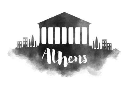 Watercolor Athens City Skyline