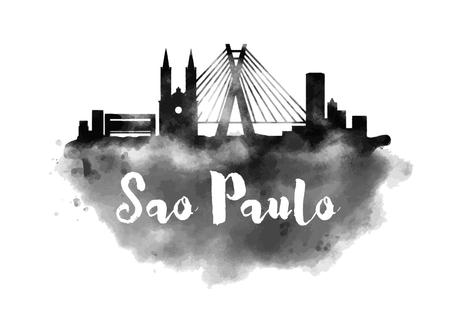 Watercolor Sao Paulo City Skyline