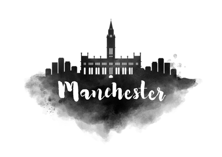 Watercolor Manchester City Skyline Stock Photo