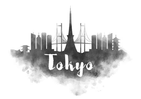 Aquarell Tokyo City Skyline