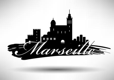 Vector Graphic Design of Marseille City Skyline Vector Illustration