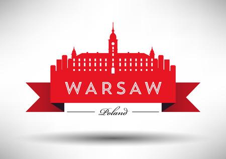 Vector Graphic Design of Warsaw City Skyline