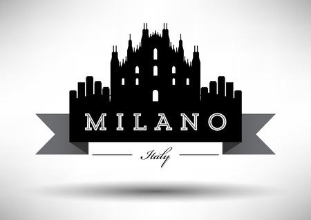Diseño gráfico vectorial de Milano horizonte de la ciudad