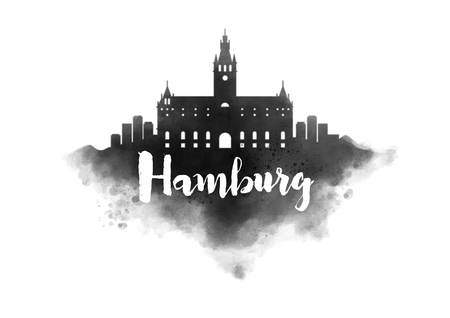 hamburg: Watercolor Hamburg City Skyline Stock Photo