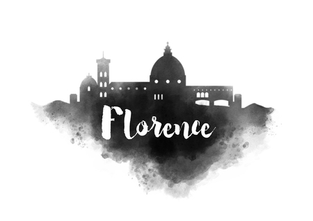 vechio: Watercolor Florence City Skyline