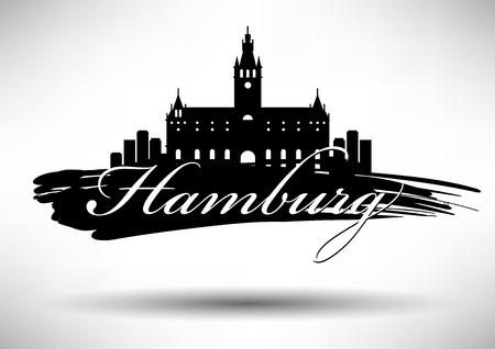 Vector Graphic Design Hamburg City Skyline