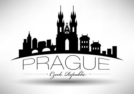 Vector Graphic Design of Prague City Skyline