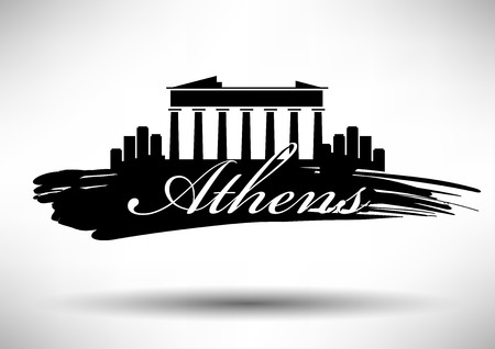 Vector Graphic Design of Athens City Skyline