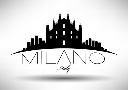 Diseño gráfico vectorial de Milano horizonte de la ciudad Ilustración de vector