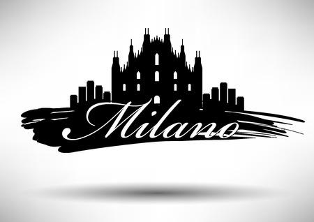 밀라노시 스카이 라인의 벡터 그래픽 디자인