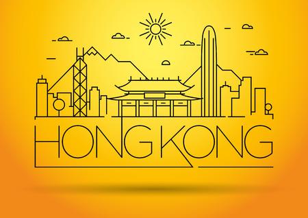 hong kong skyline: Minimal Vector Hong Kong City Linear Skyline with Typographic Design
