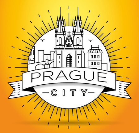 charles: Minimal Vector Prague City Linear Skyline with Typographic Design