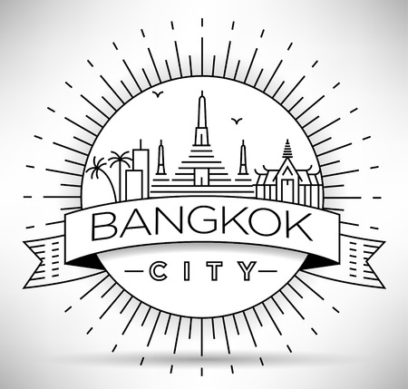Minimal Vector Thailand City Linear Skyline with Typographic Design