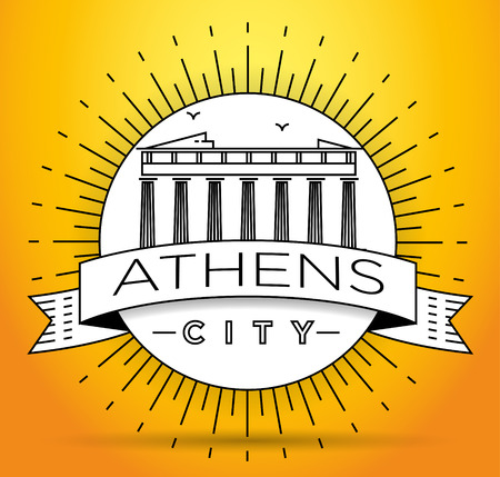 athens: Minimal Vector Athens City Linear Skyline with Typographic Design
