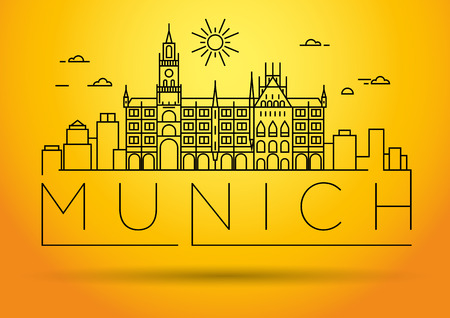 Minimal Munich City Linear Skyline with Typographic Design