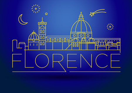 florence: Minimal Vector Florence City Linear Skyline with Typographic Design Illustration