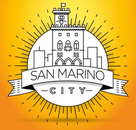 Minimal Vector San Marino City Linear Skyline with Typographic Design