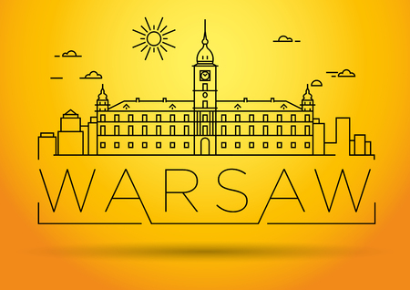 warsaw: Minimal Warsaw City Linear Skyline with Typographic Design Illustration