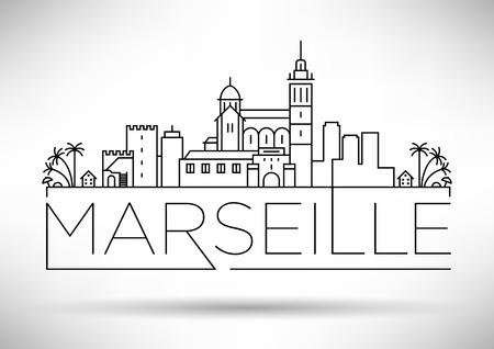Minimal Vector Marseille City Linear Skyline with Typographic Design Vector Illustration