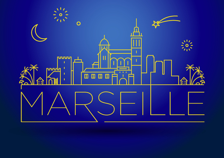 Minimal Vector Marseille City Linear Skyline with Typographic Design