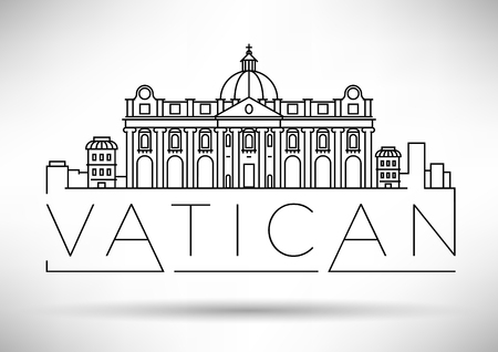 Minimal Vatican City Linear Skyline with Typographic Design Illustration
